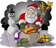 Santa que controla su bolso de regalos Fotografía de archivo