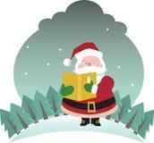 Santa que desejam lhe o Feliz Natal e feliz felizes Fotografia de Stock Royalty Free
