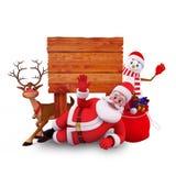 Santa que dorme com sinal de madeira Fotos de Stock Royalty Free