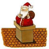 Santa que es pegado en la chimenea Foto de archivo