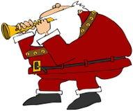 Santa que joga uma flauta ilustração stock