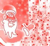 Santa que mostra as celebrações e os presentes de alegre Fotos de Stock