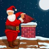 Santa que põe o saco na chaminé ilustração royalty free