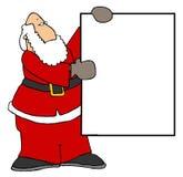 Santa que prende um sinal em branco II ilustração do vetor