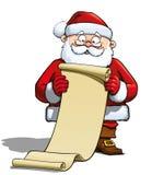Santa que prende uma lista de presente Imagens de Stock Royalty Free