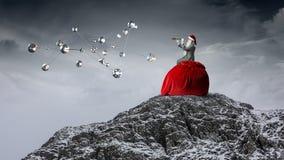 Santa que procura a maneira Meios mistos Imagens de Stock Royalty Free