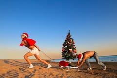 Santa que puxa a árvore de Natal Imagens de Stock