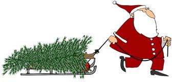 Santa que puxa uma árvore de Natal ilustração stock