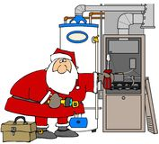 Santa que repara uma fornalha Imagens de Stock Royalty Free