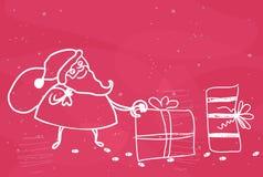 Santa que sae de presentes Imagens de Stock Royalty Free