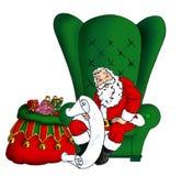 Santa que senta-se em sua cadeira Foto de Stock