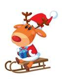 Santa que senta-se em um trenó Imagens de Stock Royalty Free