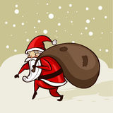 Santa que sneaking na neve Fotografia de Stock Royalty Free