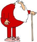 Santa que veste johns longo e que usa um bastão ilustração do vetor