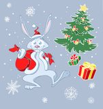 Santa rabbit Stock Image