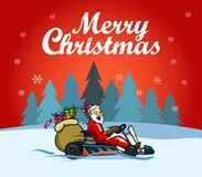 Santa Racer Christmas Greetings royalty-vrije illustratie