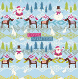 Santa, raindeers and snowman pattern Stock Photos