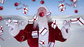 Santa raising his hands with falling christmas presents