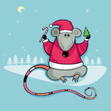 Santa rat with candy and tree Royalty Free Stock Image