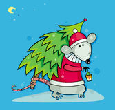 Santa rat with christmas tree. Symbol of  2008 year Royalty Free Stock Images