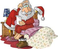 Santa Reading Gift Lists in his Pajamas. This illustration that I created depicts Santa sitting on the edge of his bed.  He is reading a letter and scratching Stock Photo