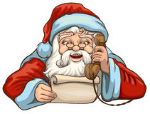 Santa reading letter and talking on phone Stock Images