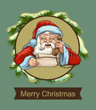 Santa reading letter and talking on phone. Template greeting card Royalty Free Stock Photo