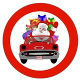 Santa in red convertible Stock Images