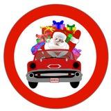 Santa in red convertible. Santa Claus riding in a red convertible car royalty free illustration