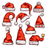 Santa red hat sketch for Christmas holiday design Royalty Free Stock Photos