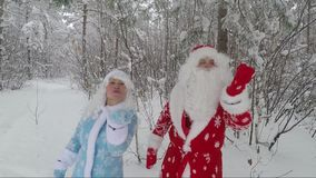 Santa and granddaughter Snow Maiden in the snow-covered forest in the afternoon send air kisses. Santa in a red hat and with a white beard and a beautiful merry stock footage