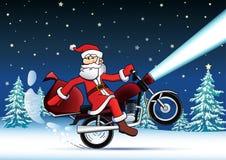 Santa on red motor bike new year card Stock Photography