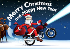 Santa on red motor bike new year card. royalty free illustration