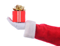 Santa with Red Present Royalty Free Stock Image