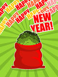 Santa red sack with money. Happy New Year. Big bag of cash. Lot Royalty Free Stock Photography