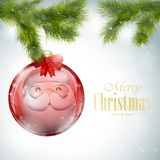 Santa Reflection In Christmas Ball Royalty Free Stock Images