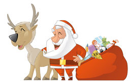 Santa and reiindeer Stock Photo