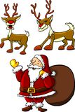 Santa and rein deers Stock Image