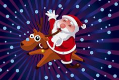 Santa On A Reindeer Royalty Free Stock Images