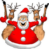 Santa with Reindeer. Image of an excited Santa with Reindeer Royalty Free Stock Photo