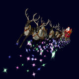 Santa and Reindeer 2. Santa and reindeer flying through an isolated dark blue sky with magic dust/lights Stock Photography