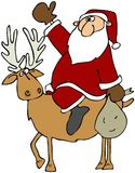 Santa On A Reindeer Stock Photo
