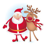 Santa and reindeer Stock Photos