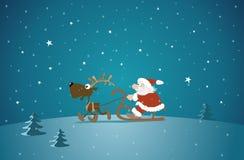 Santa and reindeer royalty free stock photo