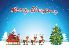 Santa and reindeer begin to send gift to everyone nearby xmas tr stock photos