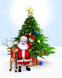 Santa with reindeer and bell Stock Photos
