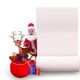 Santa and reindeer with big gift list Royalty Free Stock Images