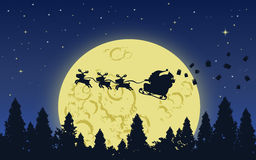 Santa and Reindeer on Big moon sky. Santa claus and his reindeer flying above the dark forest in Big yellow moon starry night with giftboxes flew from his bag stock illustration