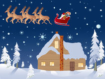 Santa, reindeer, and a cabin in the woods on Christmas Eve stock illustration