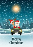 Santa and reindeer in a car in winter landscape. Santa with his reindeer driving a car through night winter landscape, vector illustration, eps 10 with royalty free illustration